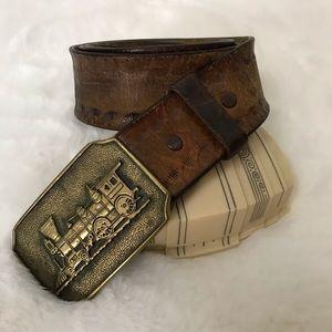 Vintage • 1970s Brass Buckle Tooled Leather Belt
